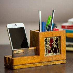 Mango Wood Pen Stand With Card & Mobile Holder