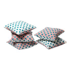 Green Hand Block Print Cushion Cover set of 5