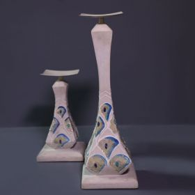 White & Blue Mosaic Wooden Candle Stand